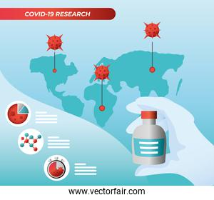 covid 19 virus research with map and vaccine jar vector design