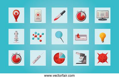 covid 19 virus research and vaccine icons set in frames vector design