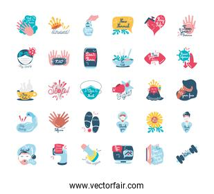 covid 19 virus stickers icons group vector design
