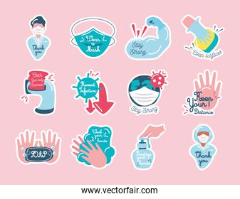 covid 19 virus stickers icons collection vector design