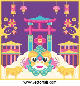 Chinese new year 2021 dragon arch and bulls vector design