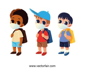 Back to school of boys with medical masks vector design