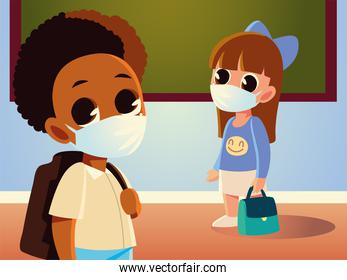 Back to school of girl with purse and boy kid with medical masks vector design