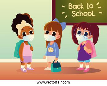 Back to school of girls kids with medical masks and board vector design