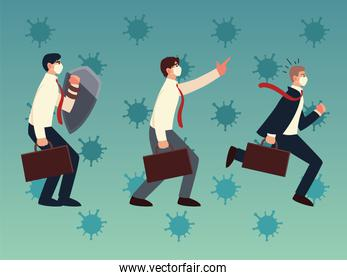covid 19 virus businessmen with masks and suitcases vector design