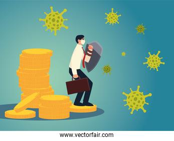 covid 19 virus businessman with mask and shield on coins vector design