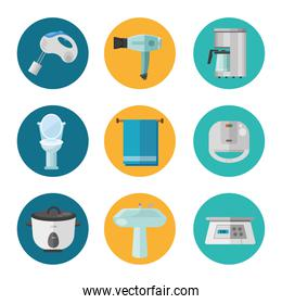 bundle of nine appliances and bathroom set flat style icons