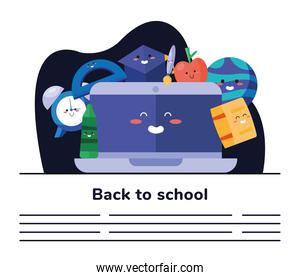 back to school lettering poster with laptop and supplies kawaii characters