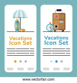 vacations travel set icons and letterings posters