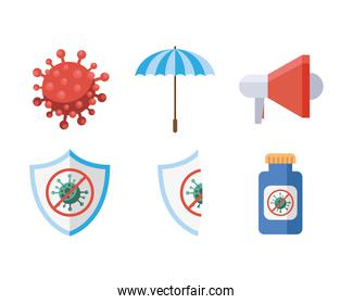 bundle of six covid19 virus pandemic set icons in white background