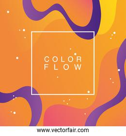 vivid color flow with square frame background