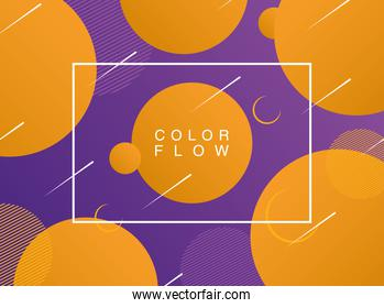 vivid color flow with rectangle frame with orange circles