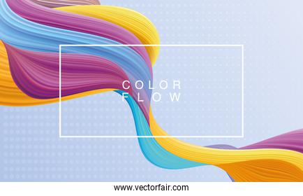 vivid color flow with rectangle frame background in blue background