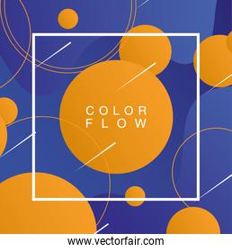 vivid color flow with square frame background poster template