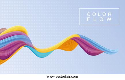 vivid color flow with rectangle frame poster