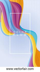 color vivid flow with rectangle frame background template