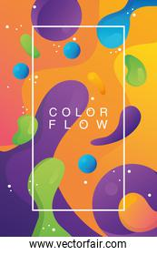 colors vivid flow with rectangle frame background template poster