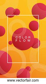 color flow with rectangle frame background poster