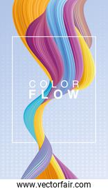 color flow with rectangle frame background poster template
