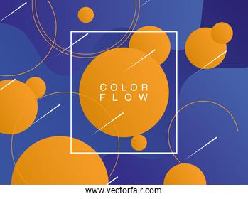 vivid color flow with square frame background template poster
