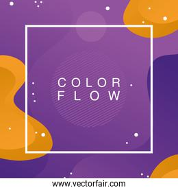 color flow with square frame background poster