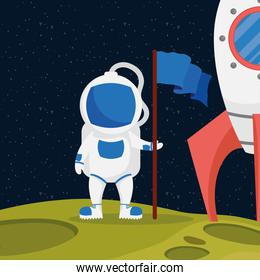 astronaut space character with flag and rocket