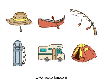 bundle of six camping set line and fill  set icons