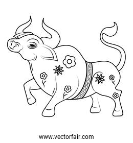 chinesse New Year ox animal with flowers