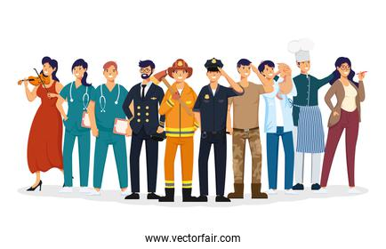 group of workers professions avatars characters