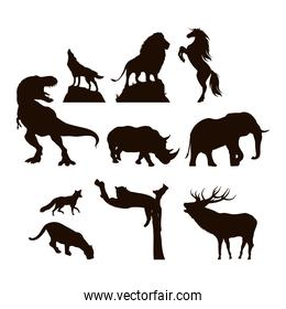 wild animals fauna silhouettes icons
