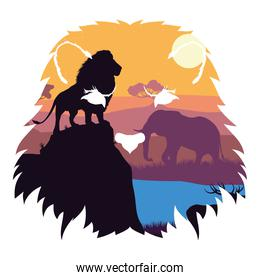 wild lion and elephant fauna silhouettes scene