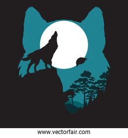 wolf howling wild fauna silhouette and moon scene