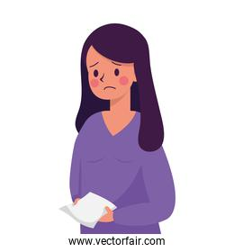 young woman with paper sheet victim of bullying character
