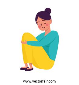 young woman seated victim of bullying character
