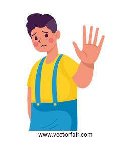 young man victim of bullying with hand stop