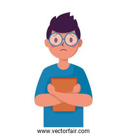 young man victim of bullying with big lens glasses character