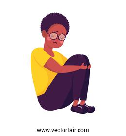 young afro man seated victim of bullying character
