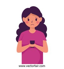 young woman victim of cyber bullying character