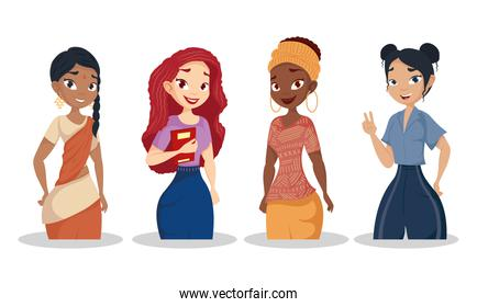 young women group diversity characters