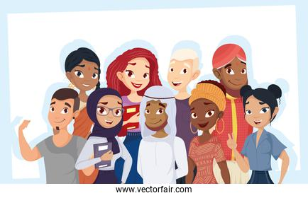 group of people diversity characters