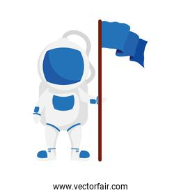 astronaut space character with flag isolated style icon