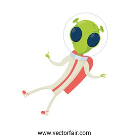 alien comic character with helmet isolated icon