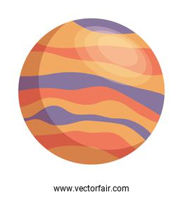 space planet purple and orange colors isolated style icon