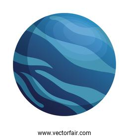 space planet blue sea color isolated style icon