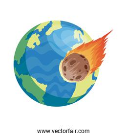 world earth planet with meteorite isolated style icon