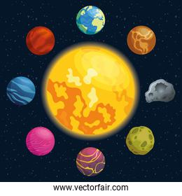 planets around of sun space icons