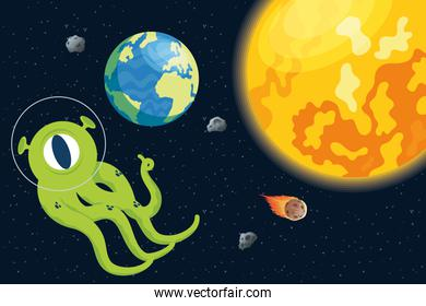 alien comic character with planets and sun