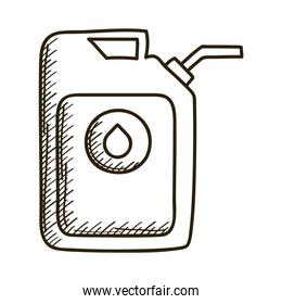 gallon tank of oil with drop drawn style icon