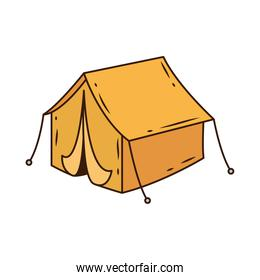 yellow camping tent tool line and fill style icon