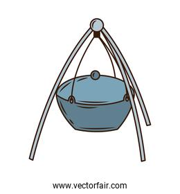 camping pot utensil line and fill style icon